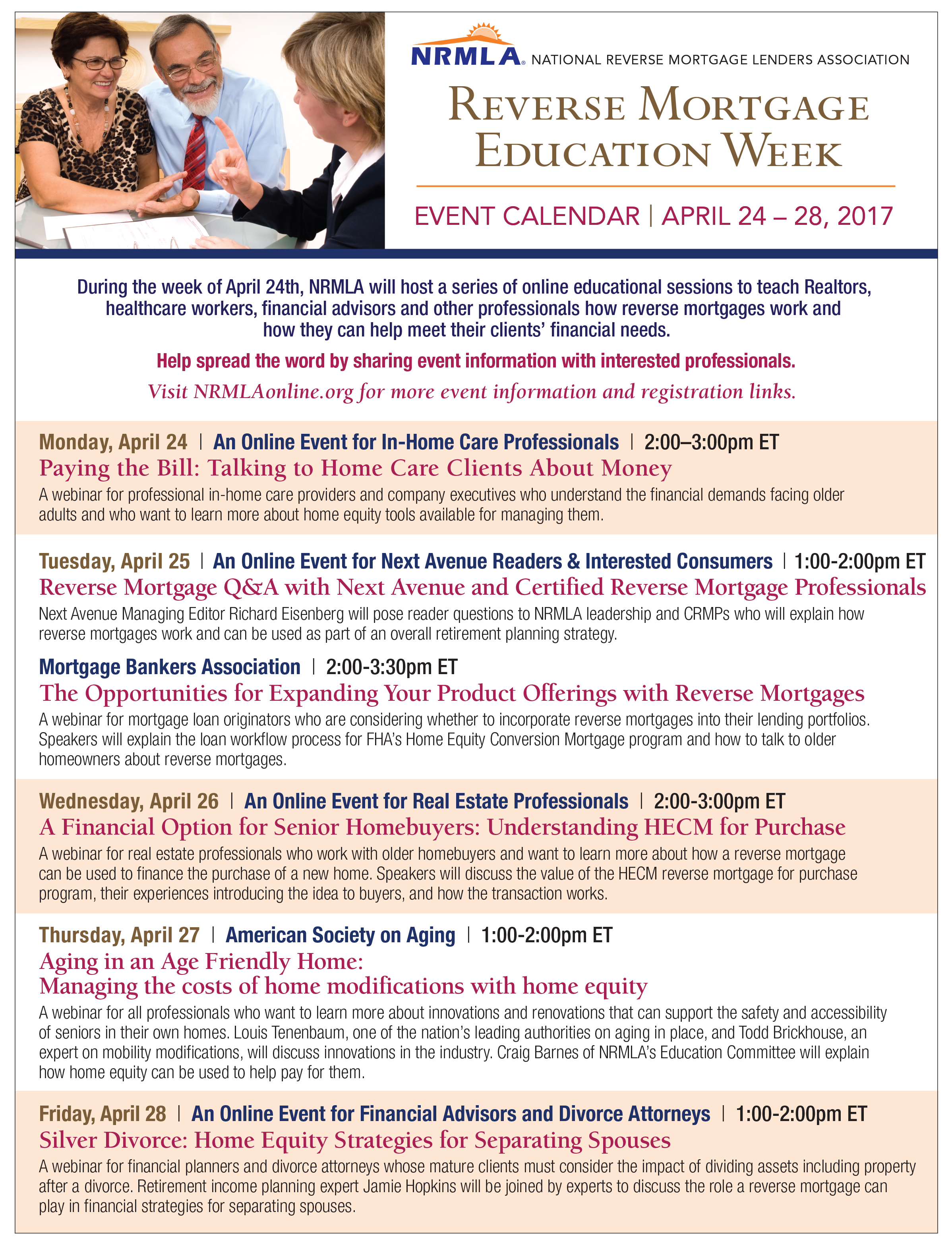 a reverse mortgage education week webinar for inhome care this webinar is free and open to all interested