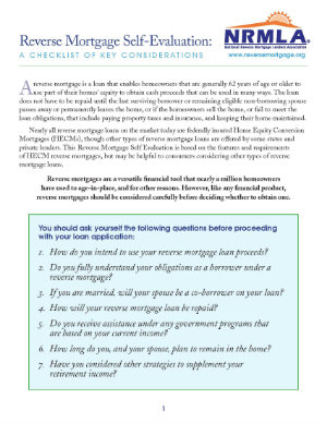 Reverse Mortgage Self-Evaluation: A Checklist of Key Considerations